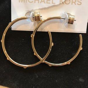 NEW - Michael Kors Gold Studded Hoop Earrings